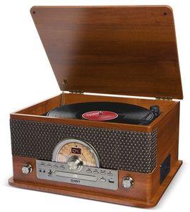 ION IT67 Superior LP 7 IN 1 Entertainmen System Bluetooth AM/ FM RadioCD Cassette USB Aux Wood Brown