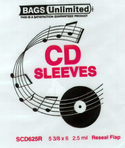 Bags Unlimited SCD625R CD Jewel Case Resealable Sleeve-100ct