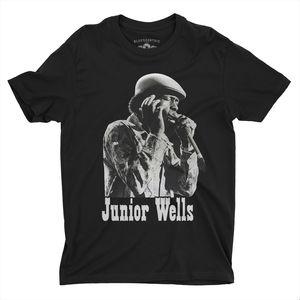 Junior Wells Old School Black Lightweight Vintage Style T-Shirt (XXL)
