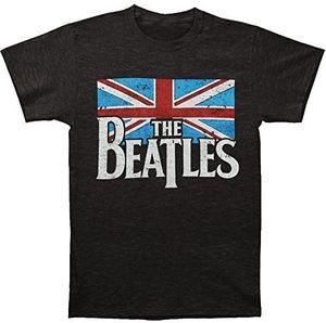 The Beatles Distressed British Flag (Mens /  Unisex Adult T-shirt) Heather Grey, SS [XXL] Front Print Only