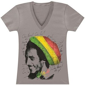Bob Marley Rasta Tam (Ladies /  Junior Adult V-Neck T-Shirt) Tan SS [Small] Front Print Only