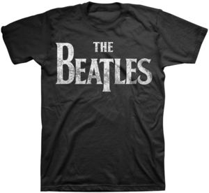 The Beatles Distressed Vintage Drop T Logo (Mens /  Unisex Adult T-shirt) Black, US [Medium], Front Print Only