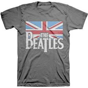 The Beatles Distressed British Flag (Mens /  Unisex Adult T-shirt) Heather Grey, SS [Small] Front Print Only