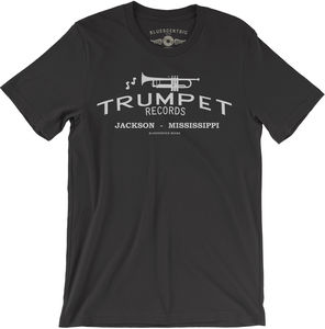 Trumpet Records Black Lightweight Vintage Style CottonT-Shirt (Large)