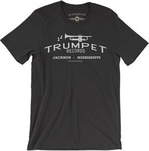 Trumpet Records Black Lightweight Vintage Style CottonT-Shirt (Large)