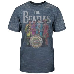 The Beatles V11 Sgt. Pepper Distressed (Mens /  Unisex Adult T-shirt) Grey, SS [Small] Front Print Only