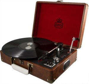 GPO SW196BBRO Attache Portable USB Turntable with Speakers Brown
