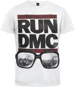 Run D.M.C. Glasses Cityscape (Mens /  Unisex Adult T-Shirt) White, SS [XXL] Front Print Only