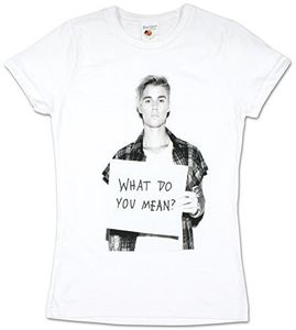 Justin Bieber What Do You Mean? (Ladies /  Junior Adult T-Shirt) White, SS [Small] Front Print Only