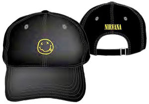 Nirvana Smiley Face Black Adjustable Baseball Cap