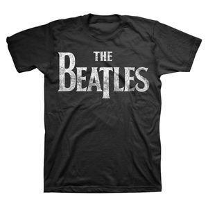 The Beatles Distressed Vintage Drop T Logo (Mens /  Unisex Adult T-shirt) Black, US [Large], Front Print Only