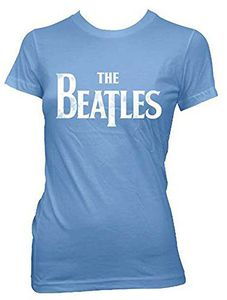 The Beatles Logo (Ladies /  Junior Adult T-Shirt) Light Blue, SS [Medium] Front Print Only