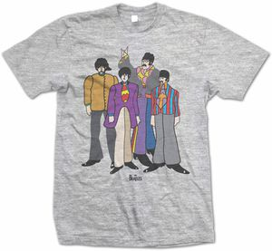 The Beatles Yellow Submarine Movie Animated Group Shot (Mens /  Unisex Adult T-shirt) Grey, US [Large], Front Print Only