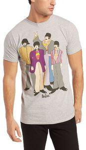 The Beatles Yellow Submarine Movie Animated Group Shot (Mens /  Unisex Adult T-shirt) Grey, US [Medium], Front Print Only