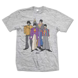 The Beatles Yellow Submarine Movie Animated Group Shot (Mens /  Unisex Adult T-shirt) Grey, US [Small], Front Print Only
