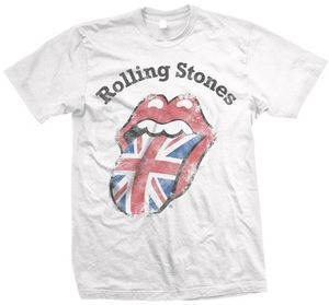 The Rolling Stones Distressed Union Jack (Mens /  Unisex Adult T-Shirt) White, SS [Large] Front Print Only