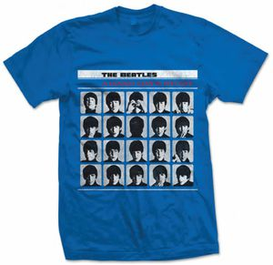 The Beatles A Hard Days Night UK Album Cover Art (Mens /  Unisex Adult T-shirt) Blue, US [Large], Front Print Only