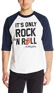 The Rolling Stones It's Only Rock N' Roll (Mens  /  Unisex Adult Raglan Baseball T-Shirt) Black & White, BB [Small] Front Print Only