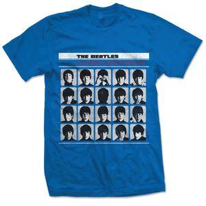 The Beatles A Hard Days Night UK Album Cover Art (Mens /  Unisex Adult T-shirt) Blue, US [Medium], Front Print Only