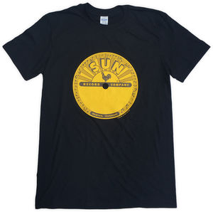 Sun Records Classic Logo Black Unisex Adult Short Sleeve Tee Shirt(Large)