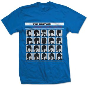 The Beatles A Hard Days Night UK Album Cover Art (Mens /  Unisex Adult T-shirt) Blue, US [Small], Front Print Only