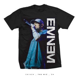 Eminem On The Mic (Mens /  Unisex Adult T-shirt) Black SS [Large] Front Print Only
