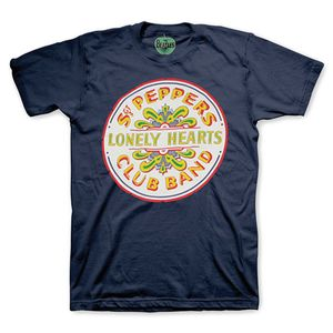 The Beatles Sgt. Peppers Lonely Hearts Club Band Seal Bass Drum Logo (Mens /  Unisex Adult T-shirt) Black, SS [Small] Front Print Only