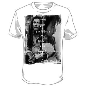 Bob Marley None But Ourselves Can Free Our (Minds Mens /  Unisex Adult T-shirt) White SS [Large] Front Print Only
