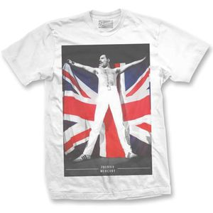 Freddie Mercury British Flag (Mens /  Unisex Adult T-Shirt) White, SS [XXL] Front Print Only