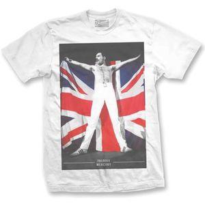 Freddie Mercury British Flag (Mens /  Unisex Adult T-Shirt) White, SS [XXL] Front Print Only