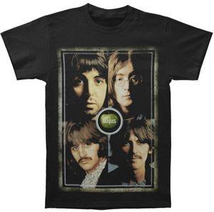 The Beatles Faces White Album Portraits (Mens /  Unisex Adult T-shirt) Black, SS [XL] Front Print Only
