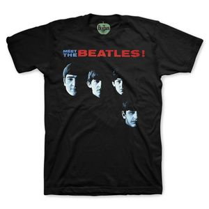 The Beatles Meet The Beatles USA Album Cover Art (Mens /  Unisex Adult T-shirt) Black, US [Small], Front Print Only