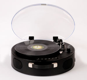 Rock 'N' Rolla UFO. - Portable Rechargeable Bluetooth USB Vinyl RecordPlayer Turntable - Black