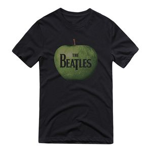 The Beatles Green Apple Logo (Mens /  Unisex Adult T-shirt) Black, SS [Small] Front Print Only