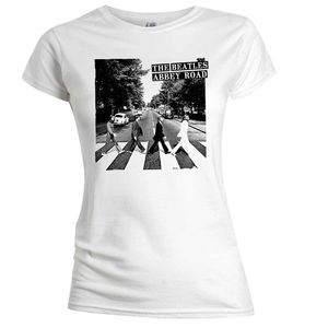 The Beatles Abbey Road (Ladies /  Junior T-Shirt) White, SS [Small] Front Print Only