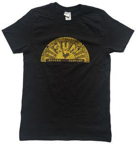 Sun Records Distressed Half Logo Black Unisex Adult Short Sleeve TeeShirt (Small)