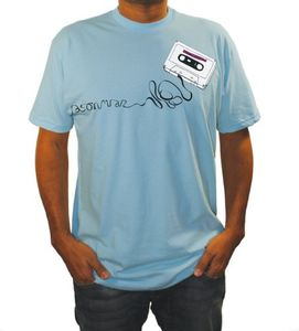 Retro Cassette Organic Light Blue - XL