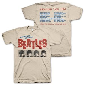 The Beatles 'Here They Come The Fabulous Beatles' American Tour 1964 With Tour Dates & Cities On Back (Mens /  Unisex Adult T-shirt) Creme, US [Small], Front & Back Artwork