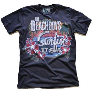 The Beach Boys Surfin' USA Tropical (Mens /  Unisex Adult T-shirt) Black, SS [Small] Front Print Only