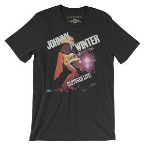 Johnny Winter Captured Live Black Lightweight Vintage Style T-Shirt(Large)