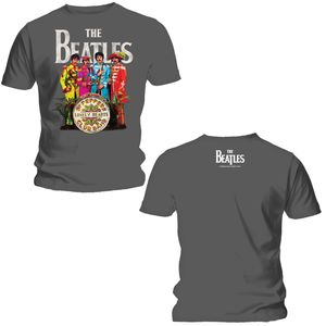 The Beatles Sgt Pepper (Mens /  Unisex Adult T-shirt) Grey, US [Small], Front & Back Artwork
