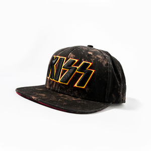 Kiss 3D Embroidered Logo Distressed Snapback Baseball Cap