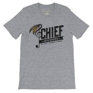 Chief Records EST. 1957 Chicago, Illinois Heather Grey LightweightVintage Style T-Shirt (Medium)
