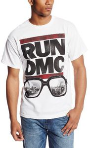 Run D.M.C. Glasses Cityscape (Mens /  Unisex Adult T-Shirt) White, SS [Medium] Front Print Only