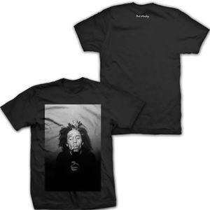 Bob Marley Black & White 420 (Mens /  Unisex Adult T-shirt) Black SS [Large] Front & Back Print