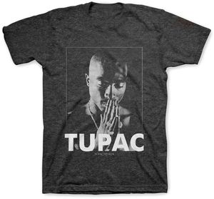 Tupac Shakur Praying (Mens /  Unisex Adult T-shirt) Charcoal, SS [Small] Front Print Only