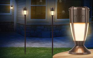 ION iSP92P Tiki Sounds Bluetooth Speakers Pair Solar Tiki-style LampSpeaker with Multi-Link Black