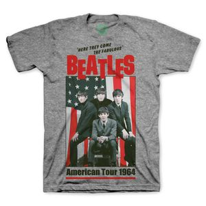 The Beatles 'Here They Come The Fabulous Beatles' American Tour 1964 (Mens /  Unisex Adult T-shirt) Heather Grey, US [Medium], Front Print Only